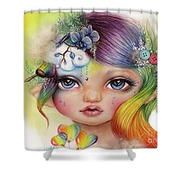 Shower Curtain featuring the mixed media Rainbow Rosalie  by Sheena Pike