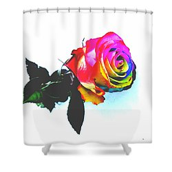 Shower Curtain featuring the pyrography Rainbow Rose 2 by Jennah Lenae