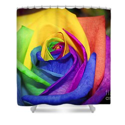 Rainbow Rose In Paint Shower Curtain
