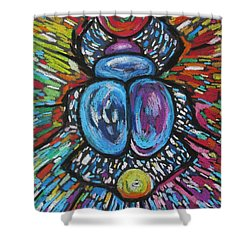 Rainbow Scarab Shower Curtain