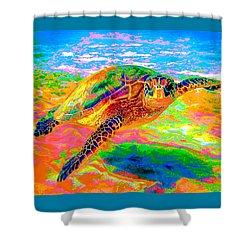 Rainbow Sea Turtle Shower Curtain