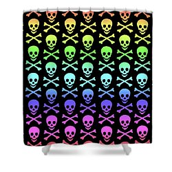 Rainbow Skull And Crossbones Shower Curtain by Roseanne Jones