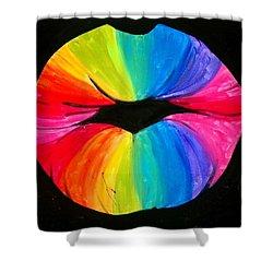 Rainbow Smooch Shower Curtain by Marisela Mungia