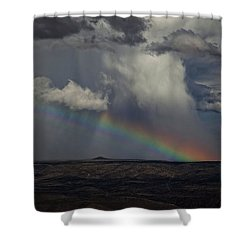 Shower Curtain featuring the photograph Rainbow Storm Over The Verde Valley Arizona by Ron Chilston