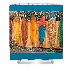 Surfboard Rainbow Shower Curtain
