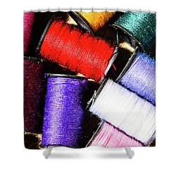 Shower Curtain featuring the photograph Rainbow Threads Sewing Equipment by Jorgo Photography - Wall Art Gallery