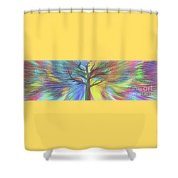 Shower Curtain featuring the digital art Rainbow Tree By Kaye Menner by Kaye Menner