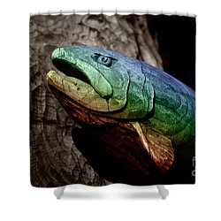 Shower Curtain featuring the photograph Rainbow Trout Wood Sculpture by John Stephens