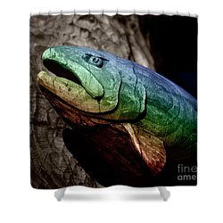 Shower Curtain featuring the photograph Rainbow Trout Wood Sculpture Square by John Stephens
