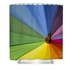 Shower Curtain featuring the photograph Rainbow Umbrella by Inge Riis McDonald