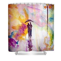 Rainbow Walk Of Love Shower Curtain by Raymond Doward
