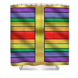 Shower Curtain featuring the digital art Rainbow Wall Hanging Horizontal by Chuck Staley