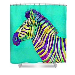 Rainbow Zebra 2013 Shower Curtain by Jane Schnetlage