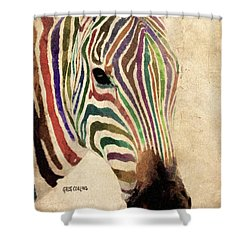 Shower Curtain featuring the painting Rainbow Zebra by Greg Collins