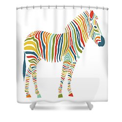 Rainbow Zebra Shower Curtain by Nicole Wilson