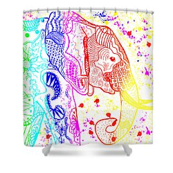 Rainbow Zentangle Elephant Shower Curtain