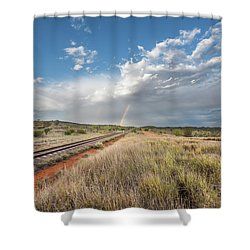 Rainbows Over Ghan Tracks Shower Curtain