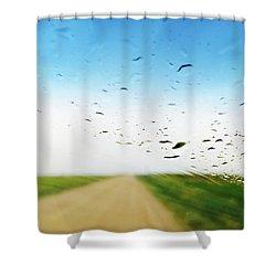Raindrops On A Car Window Shower Curtain