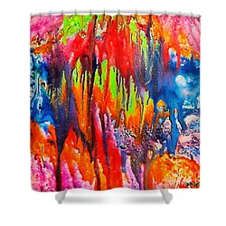 Shower Curtain featuring the painting Raindrops On The Window by Dragica  Micki Fortuna