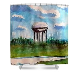 Raines Road Watertower Shower Curtain