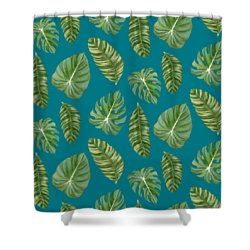 Rainforest Resort - Tropical Leaves Elephant's Ear Philodendron Banana Leaf Shower Curtain
