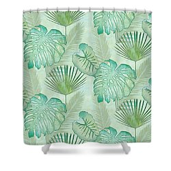 Rainforest Tropical - Elephant Ear And Fan Palm Leaves Repeat Pattern Shower Curtain by Audrey Jeanne Roberts