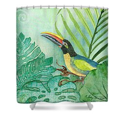 Rainforest Tropical - Jungle Toucan W Philodendron Elephant Ear And Palm Leaves 2 Shower Curtain by Audrey Jeanne Roberts