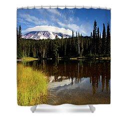 Rainier Capped Shower Curtain by Mike  Dawson
