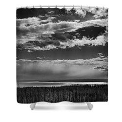 Shower Curtain featuring the photograph Raining At Yellowstone Lake by Jason Moynihan