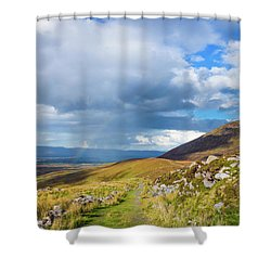 Shower Curtain featuring the photograph Raining Down And Sunshine With Rainbow On The Countryside In Ire by Semmick Photo