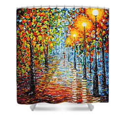 Shower Curtain featuring the painting Rainy Autumn Evening In The Park Acrylic Palette Knife Painting by Georgeta Blanaru