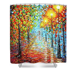 Shower Curtain featuring the painting Rainy Autumn Evening In The Park Acylic Palette Knife Painting by Georgeta Blanaru