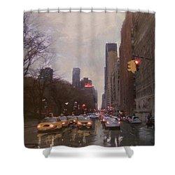 Rainy City Street Shower Curtain by Anita Burgermeister