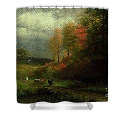 Rainy Day In Autumn Shower Curtain by Albert Bierstadt