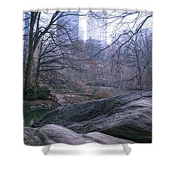 Rainy Day In Central Park Shower Curtain by Sandy Moulder