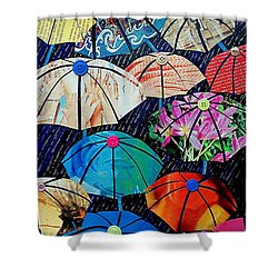 Shower Curtain featuring the painting Rainy Day Personalities by Susan DeLain