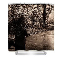 Shower Curtain featuring the photograph Rainy Day - Woman And Dog by Madeline Ellis