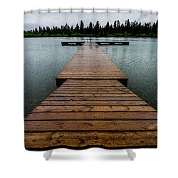 Shower Curtain featuring the photograph Rainy Dock by Darcy Michaelchuk