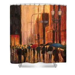 Rainy Evening Chicago Shower Curtain