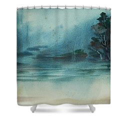 Shower Curtain featuring the painting Rainy Inlet by Jani Freimann