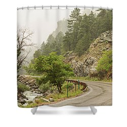 Shower Curtain featuring the photograph Rainy Misty Boulder Creek And Boulder Canyon Drive by James BO Insogna