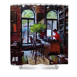 Rainy Morning In The Restaurant Shower Curtain by Peter Salwen