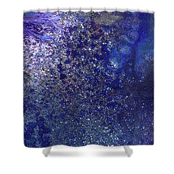 Rainy Night - Blue Contemporary Abstract Art Shower Curtain