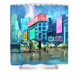 Rainy Night In New York Shower Curtain