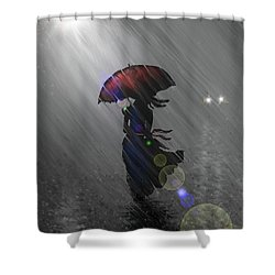 Shower Curtain featuring the digital art Rainy Walk by Darren Cannell