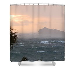 Rainy Xmas Sunrise Shower Curtain