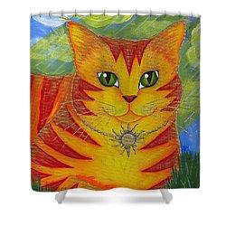 Rajah Golden Sun Cat Shower Curtain by Carrie Hawks