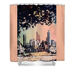 Shower Curtain featuring the painting Raleigh Skyline V by Ryan Fox