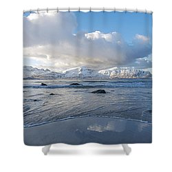 Ramberg Beach, Lofoten Nordland Shower Curtain