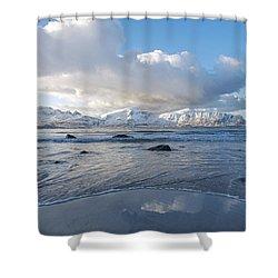 Ramberg Beach, Lofoten Nordland Shower Curtain by Dubi Roman
